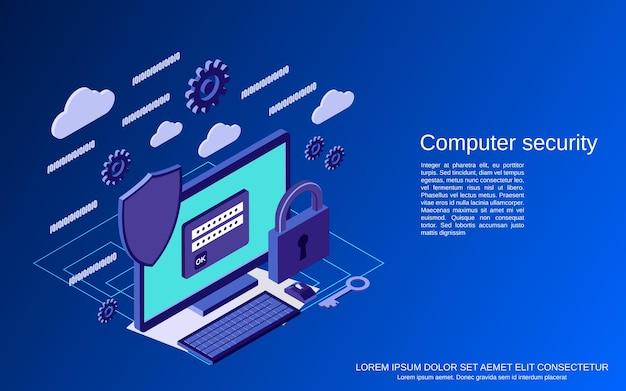 Segurança de computador, ilustração de conceito de vetor isométrico plano 3d de proteção de informações
