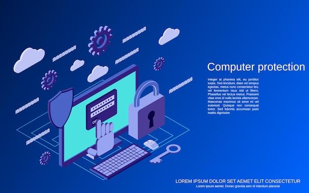 Segurança de computador, ilustração de conceito isométrico plano de proteção de informações