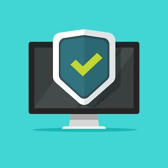 Segurança de computador ou escudo de proteção