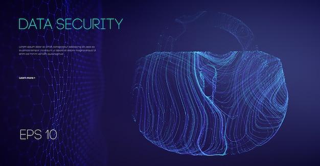 Segurança de dados bloqueio binário código de criptografia conceito de firewall do computador bloqueios de alarme de dados do servidor