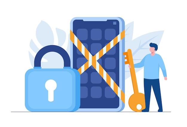Segurança de dados pessoais, ilustração do conceito on-line de segurança de dados cibernéticos, segurança na internet ou privacidade de informações. banner de ilustração vetorial plana e proteção