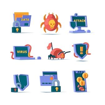 Segurança de dados. servidor de segurança de firewall de rede cadeado segurança cibernética de servidor limpo online. ilustração de cadeado e firewall cibernético protegem