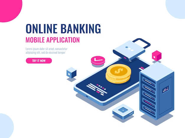 Segurança de dinheiro na internet, pagamento de transação protegida, banco on-line de aplicativos móveis