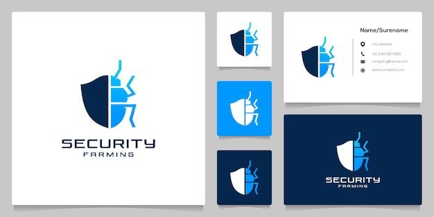 Segurança de insetos de controle de pragas com escudo e bug para logotipo de empresa agrícola com cartão de visita
