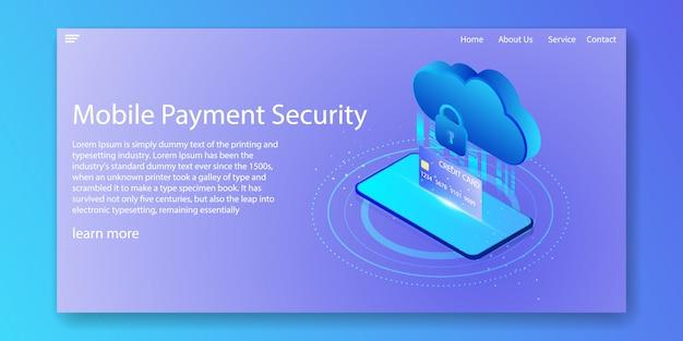 Segurança de pagamento móvel isométrica