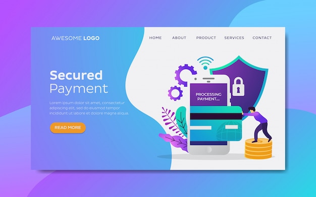 Segurança de pagamento on-line modelo de página de destino
