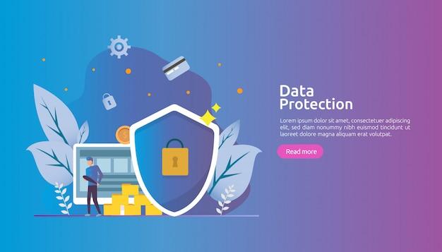 Segurança de rede de segurança e proteção de dados confidenciais com caráter de pessoas
