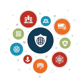 Segurança de rede infográfico design de bolha de 10 etapas. rede privada, privacidade online, sistema de backup, ícones simples de proteção de dados