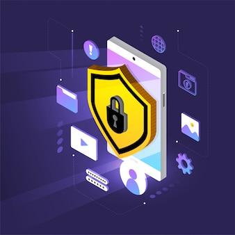 Segurança de rede isométrica