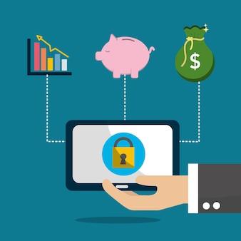 Segurança do computador economizar dinheiro e inversão