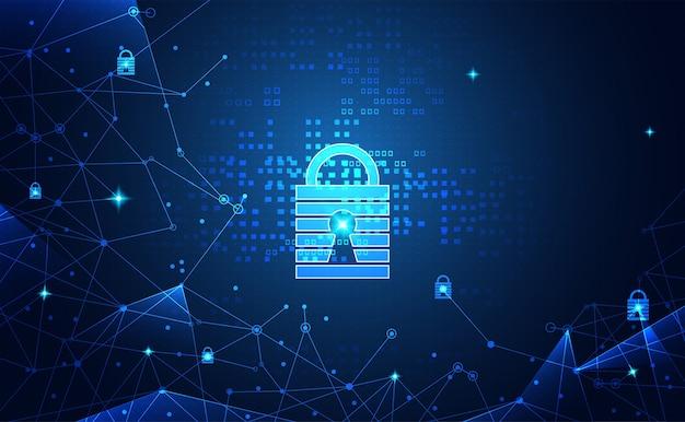 Segurança e tecnologia cibernética de proteção de rede abstrata