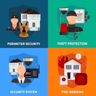 Segurança em casa 2x2 conjunto de aviso de incêndio de proteção contra roubo e sistema de alarme eletrônico