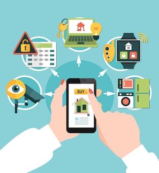 Segurança em casa comprando composição on-line