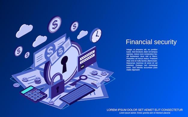 Segurança financeira, banco on-line, conceito de vetor isométrico plano 3d de proteção de dinheiro