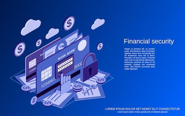 Segurança financeira, banco on-line, conceito de vetor isométrico plano 3d de proteção de dinheiro Vetor Premium