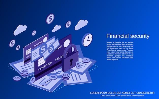 Segurança financeira, banco on-line, proteção de dinheiro ilustração plana 3d isométrica do conceito de vetor