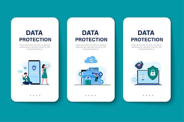 Segurança global de dados, segurança de dados pessoais, ilustração do conceito on-line de segurança de dados cibernéticos, segurança da internet ou privacidade e proteção de informações.
