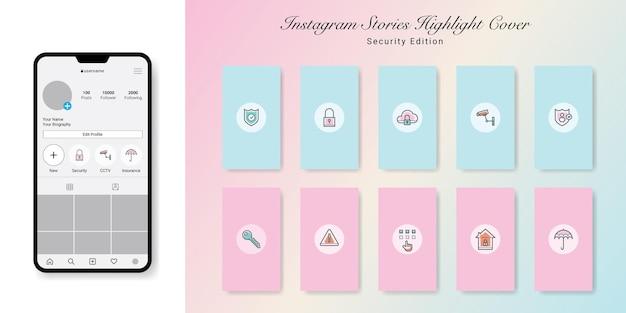 Segurança instagram stories destaque covers design