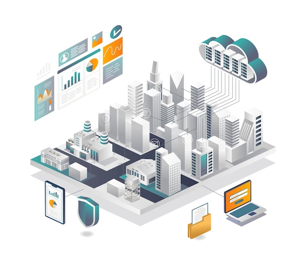 Segurança inteligente da cidade com analista de dados de servidor em nuvem