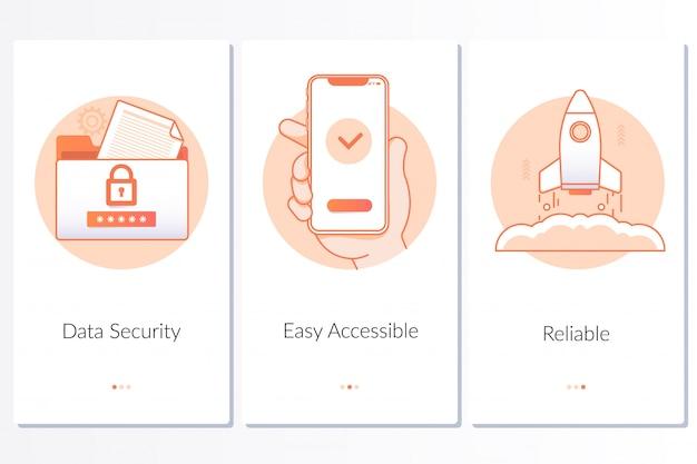 Segurança, lançamento rápido e fácil, etapas de serviço confiáveis instrução gráfica