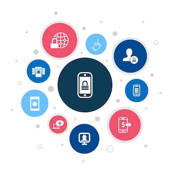 Segurança móvel infográfico design de bolha de 10 etapas. phishing móvel, spyware, segurança na internet, ícones simples de proteção de dados