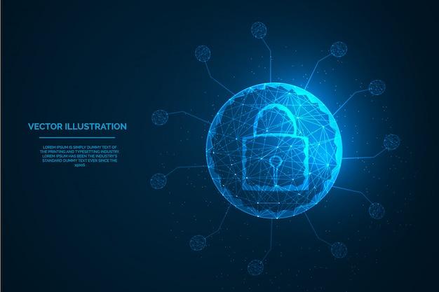 Segurança mundial para ilustração digital poli da qualidade do conceito do vírus da corona baixa.