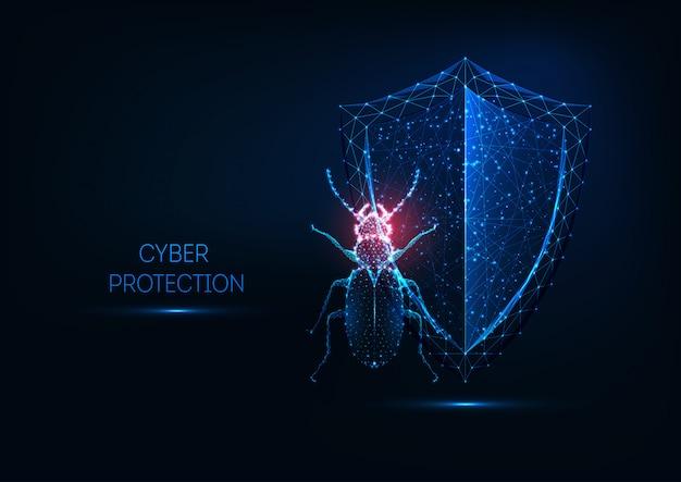 Segurança na internet, conceito de proteção cibernética com bug poligonal baixo brilhante futurista e escudo.