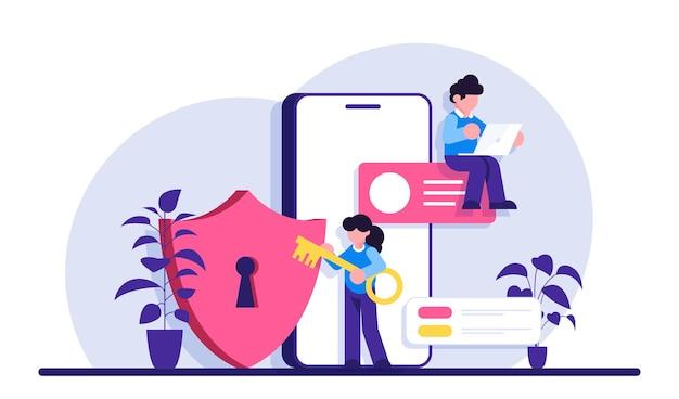 Segurança para celulares. especialista em segurança cibernética ou web. proteção e segurança de dados digitais. tecnologia moderna e crime virtual. informações de proteção na internet.