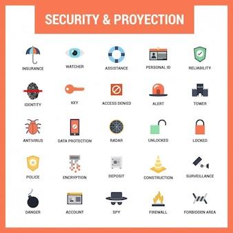 Segurança plano icons set