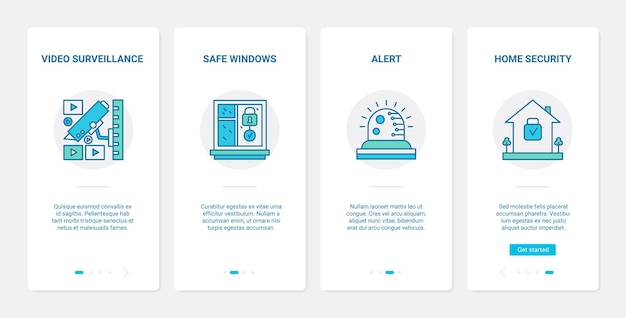 Segurança por videovigilância proteção de privacidade ux ui conjunto de tela de aplicativo móvel de integração