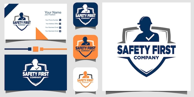 Segurança primeiro design de logotipo com cartão de visita