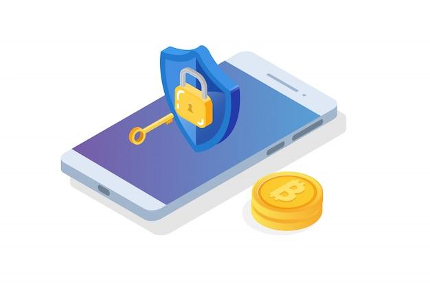 Segurança, segurança e conceito isométrico de proteção de dados pessoais confidenciais.