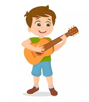 Segurando e tocando uma guitarra
