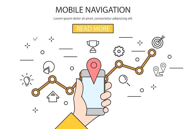 Segurando o smartphone digital preto com mapa.