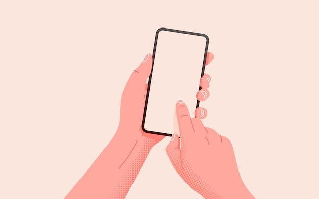 Segurando o telefone com as duas mãos, maquete de telefone com tela vazia e modelo editável de smartphone