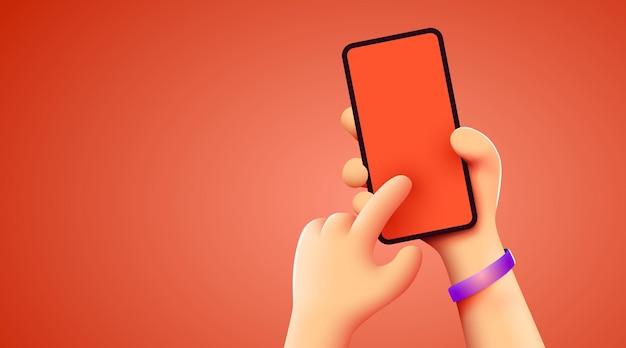 Segurando o telefone com as duas mãos modelo de smartphone editável de maquete de telefone tocando a tela com o dedo