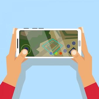 Segurando o telefone horizontal e jogando jogo moba