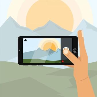 Segurando o telefone na horizontal e tire uma foto com o telefone