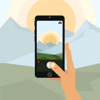 Segurando o telefone vertical e tirar uma foto com o telefone