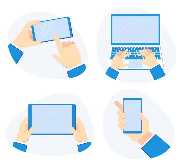 Segurando os dispositivos na mão. smartphone nas mãos, segure o computador portátil e o conjunto de ilustração de tablet móvel