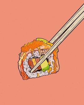 Segurando os pauzinhos e sushi roll, mão desenhar croqui