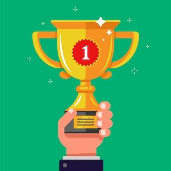 Segure a taça de ouro do vencedor na mão. aumentar a recompensa. ilustração plana