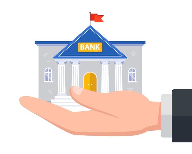 Segure o banco na mão. oferecer serviços financeiros. ilustração em fundo branco.