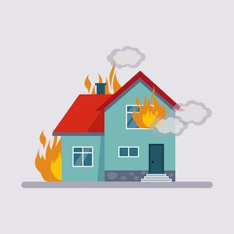 Seguro contra incêndio illustartion