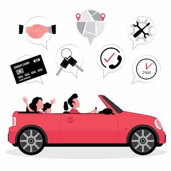 Seguro de aluguel de automóveis apresenta família dirigir um carro com uma foto de cartão de crédito, chaves, mapa e serviço