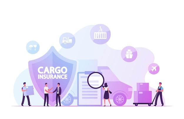 Seguro de carga, conceito de garantia de entrega. ilustração plana dos desenhos animados