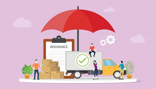 Seguro de logística com algum cartão de pilha com grande cobertura de guarda-chuva