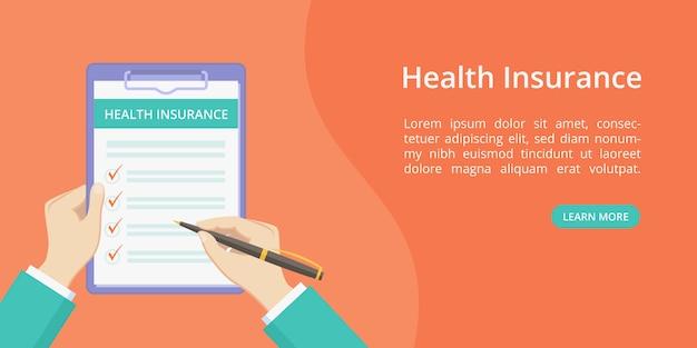 Seguro de saúde na área de transferência com as mãos