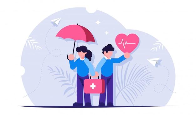 Seguro de saúde ou vida é um conceito. as pessoas estão com um coração e um guarda-chuva nas mãos, simbolizando a proteção da saúde