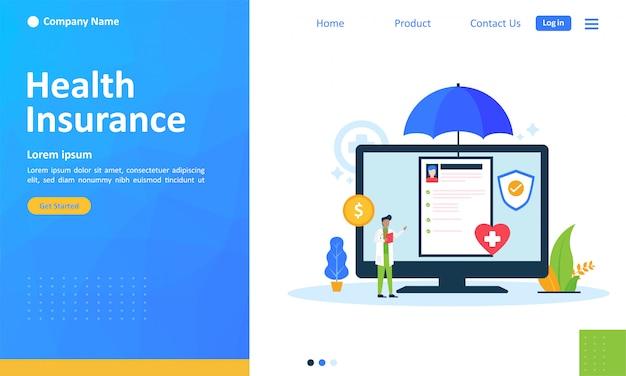 Seguro de saúde para página de destino da web